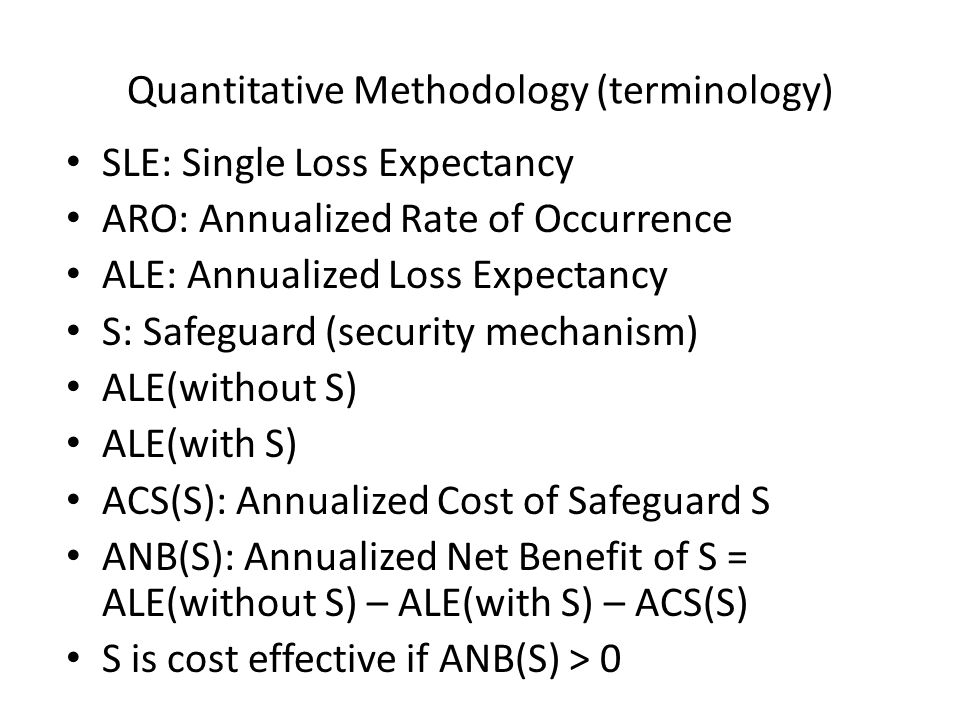 Quantitative Methodology (terminology) SLE: Single Loss Expectancy ARO: Annualized Rate of Occurrence ALE: Annualized Loss Expectancy S: Safeguard (se