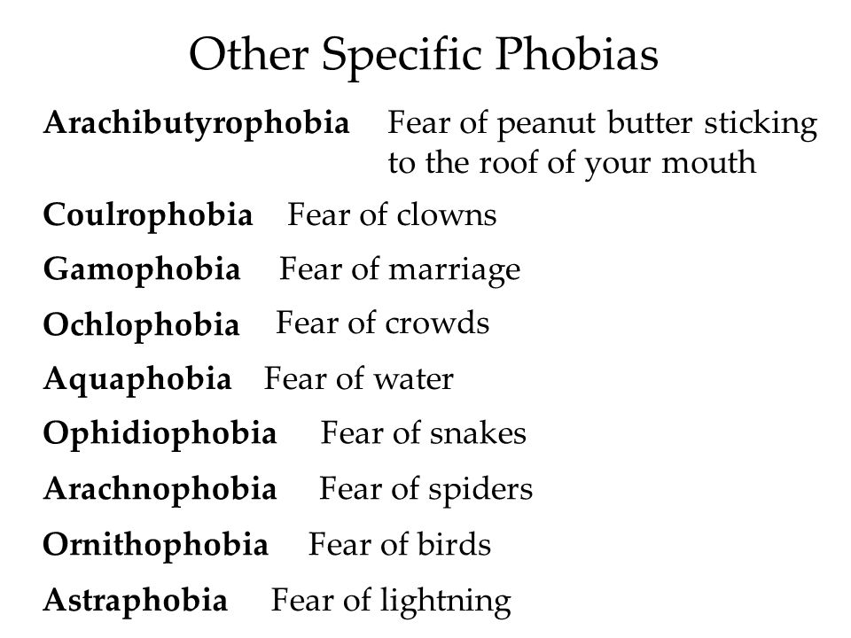 Other Specific Phobias ArachibutyrophobiaFear of peanut butter sticking to the roof of your mouth CoulrophobiaFear of clowns GamophobiaFear of marriage Ochlophobia Fear of crowds AquaphobiaFear of water OphidiophobiaFear of snakes ArachnophobiaFear of spiders OrnithophobiaFear of birds AstraphobiaFear of lightning
