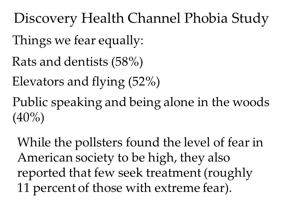 Discovery Health Channel Phobia Study Things we fear equally: Rats and dentists (58%) Elevators and flying (52%) Public speaking and being alone in the woods (40%) While the pollsters found the level of fear in American society to be high, they also reported that few seek treatment (roughly 11 percent of those with extreme fear).