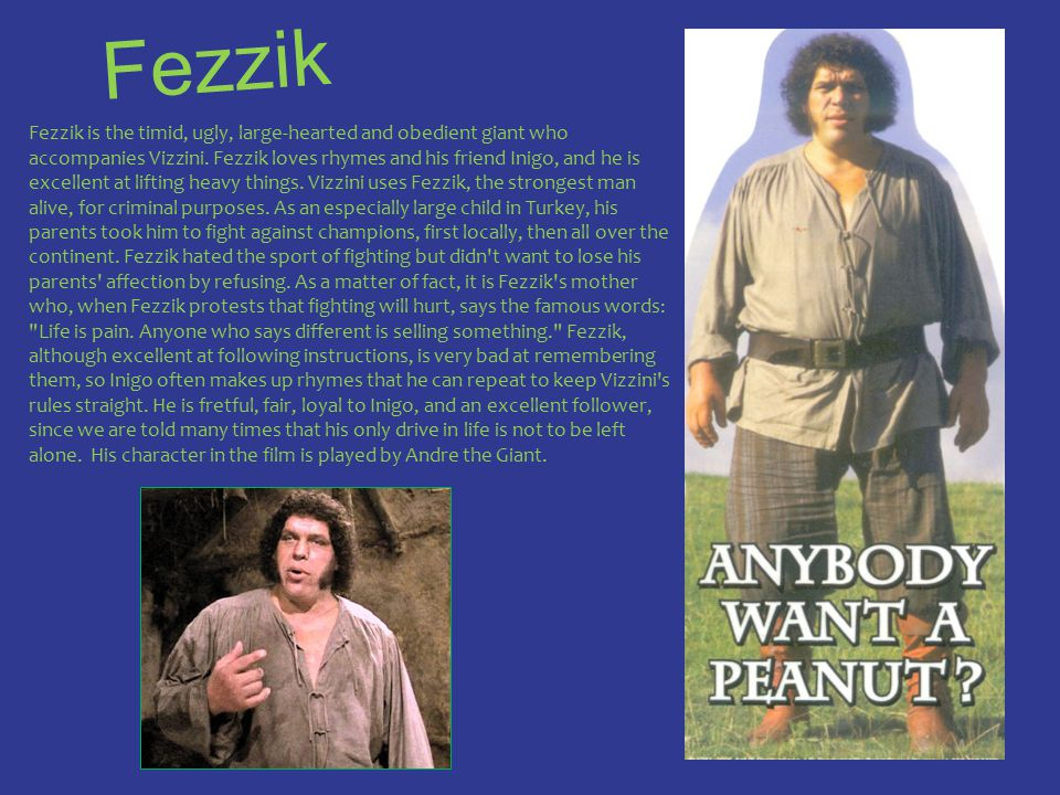 Fezzik Fezzik is the timid, ugly, large-hearted and obedient giant who accompanies Vizzini. Fezzik loves rhymes and his friend Inigo, and he is excell