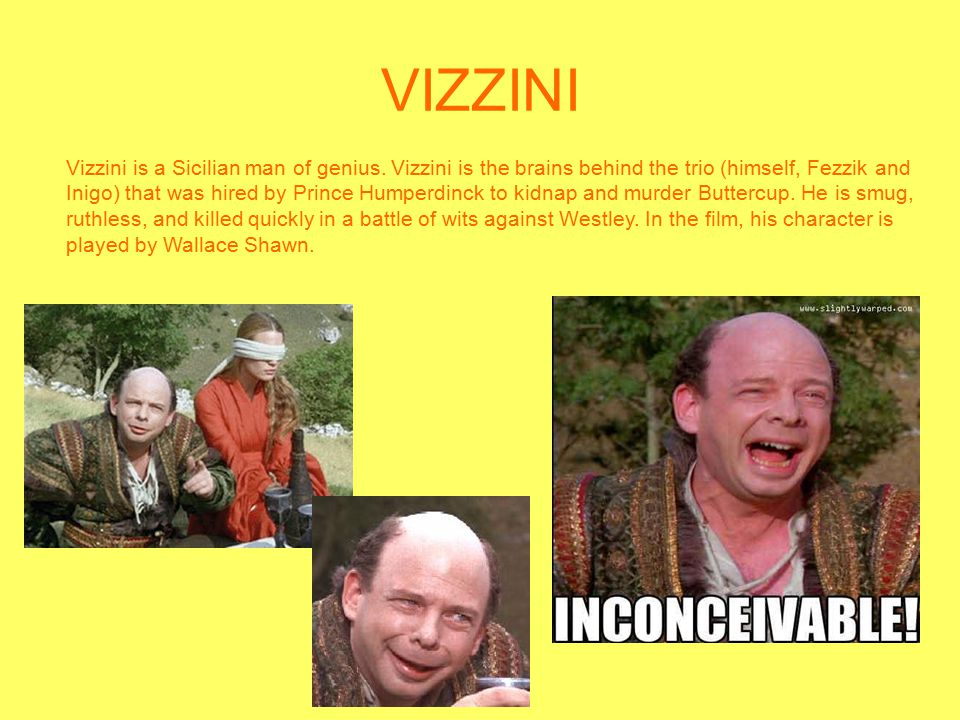 VIZZINI Vizzini is a Sicilian man of genius. Vizzini is the brains behind the trio (himself, Fezzik and Inigo) that was hired by Prince Humperdinck to