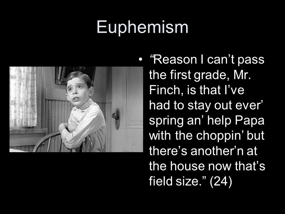 """Euphemism """"Reason I can't pass the first grade, Mr. Finch, is that I've had to stay out ever' spring an' help Papa with the choppin' but there's anoth"""
