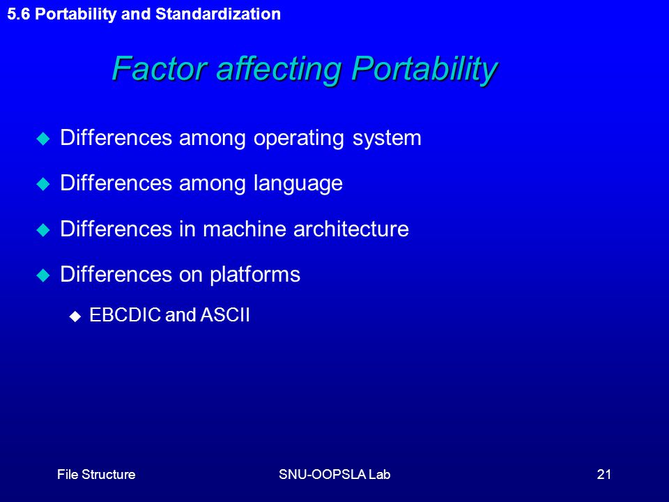 File StructureSNU-OOPSLA Lab21 Factor affecting Portability Factor affecting Portability u Differences among operating system u Differences among language u Differences in machine architecture u Differences on platforms u EBCDIC and ASCII 5.6 Portability and Standardization