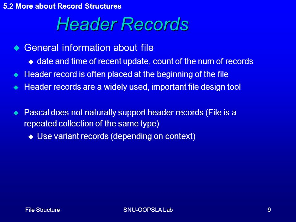 File StructureSNU-OOPSLA Lab9 5.2 More about Record Structures Header Records u General information about file u date and time of recent update, count of the num of records u Header record is often placed at the beginning of the file u Header records are a widely used, important file design tool u Pascal does not naturally support header records (File is a repeated collection of the same type) u Use variant records (depending on context)