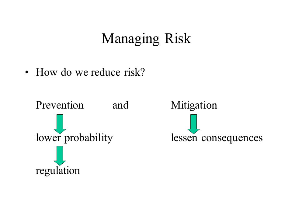 Managing Risk How do we reduce risk.