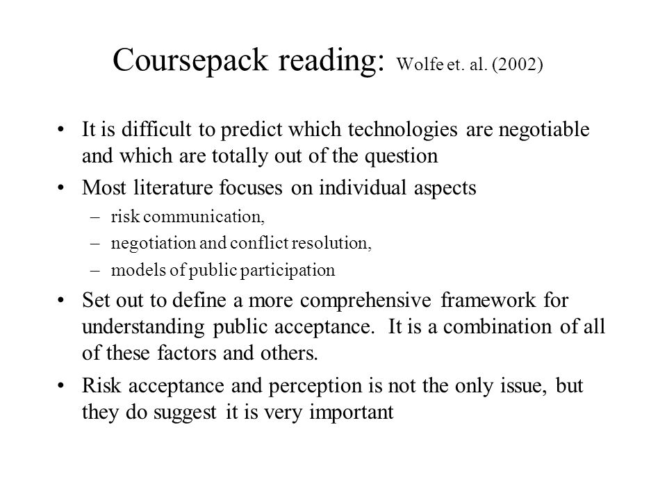Coursepack reading: Wolfe et. al.