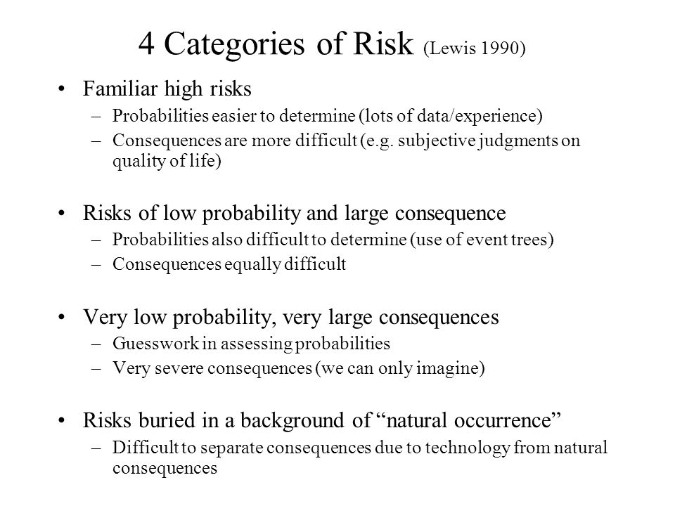 4 Categories of Risk (Lewis 1990) Familiar high risks –Probabilities easier to determine (lots of data/experience) –Consequences are more difficult (e.g.
