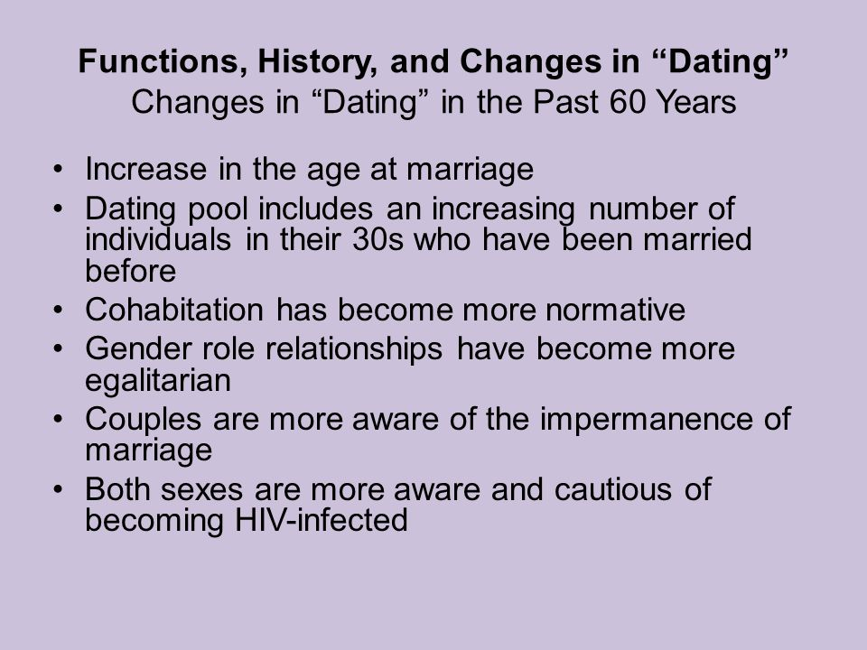 Functions, History, and Changes in Dating Changes in Dating in the Past 60 Years Increase in the age at marriage Dating pool includes an increasing number of individuals in their 30s who have been married before Cohabitation has become more normative Gender role relationships have become more egalitarian Couples are more aware of the impermanence of marriage Both sexes are more aware and cautious of becoming HIV-infected