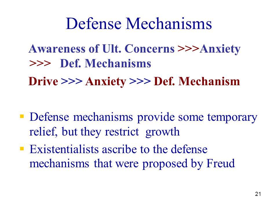 21 Defense Mechanisms Awareness of Ult. Concerns >>>Anxiety >>> Def. Mechanisms Drive >>> Anxiety >>> Def. Mechanism  Defense mechanisms provide some