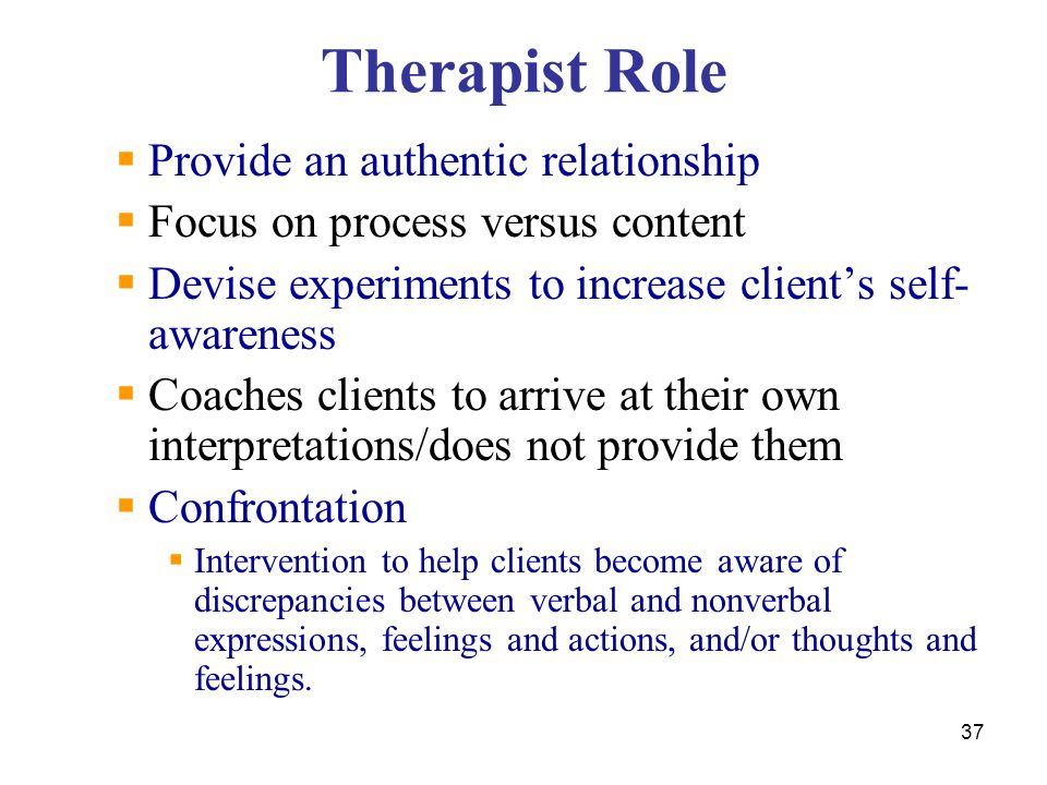 Therapist Role  Provide an authentic relationship  Focus on process versus content  Devise experiments to increase client's self- awareness  Coach