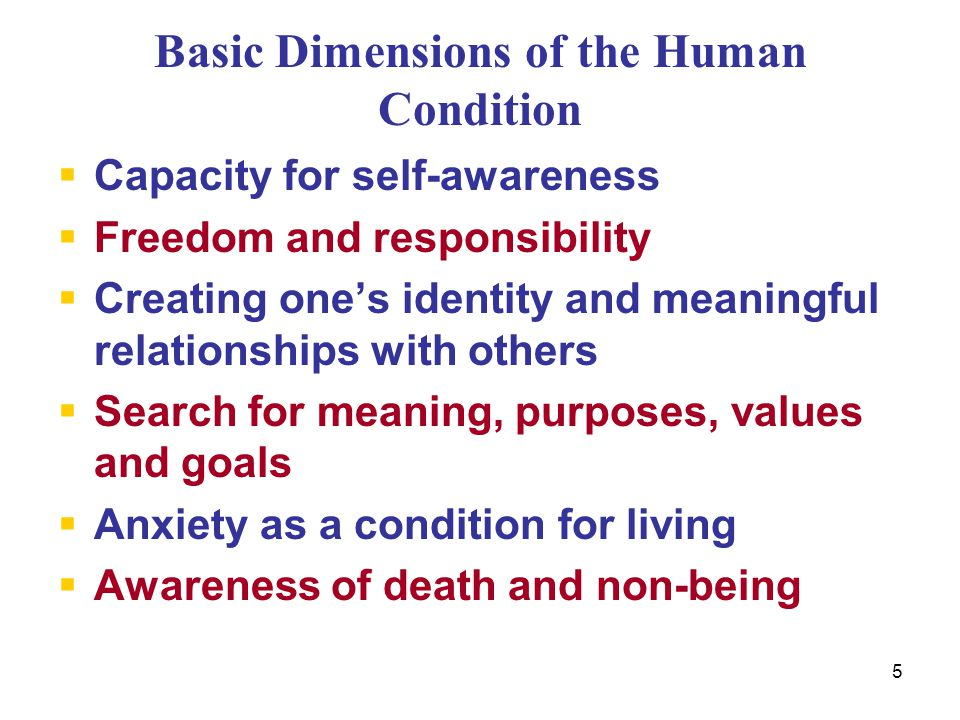 5 Basic Dimensions of the Human Condition  Capacity for self-awareness  Freedom and responsibility  Creating one's identity and meaningful relation
