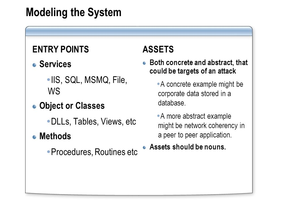 Modeling the System ENTRY POINTS Services  IIS, SQL, MSMQ, File, WS Object or Classes  DLLs, Tables, Views, etc Methods  Procedures, Routines etc ASSETS Both concrete and abstract, that could be targets of an attack  A concrete example might be corporate data stored in a database.