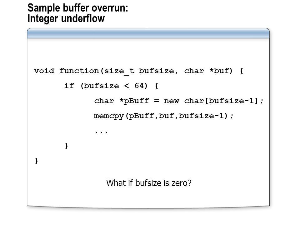 Sample buffer overrun: Integer underflow void function(size_t bufsize, char *buf) { if (bufsize < 64) { char *pBuff = new char[bufsize-1]; memcpy(pBuff,buf,bufsize-1);...