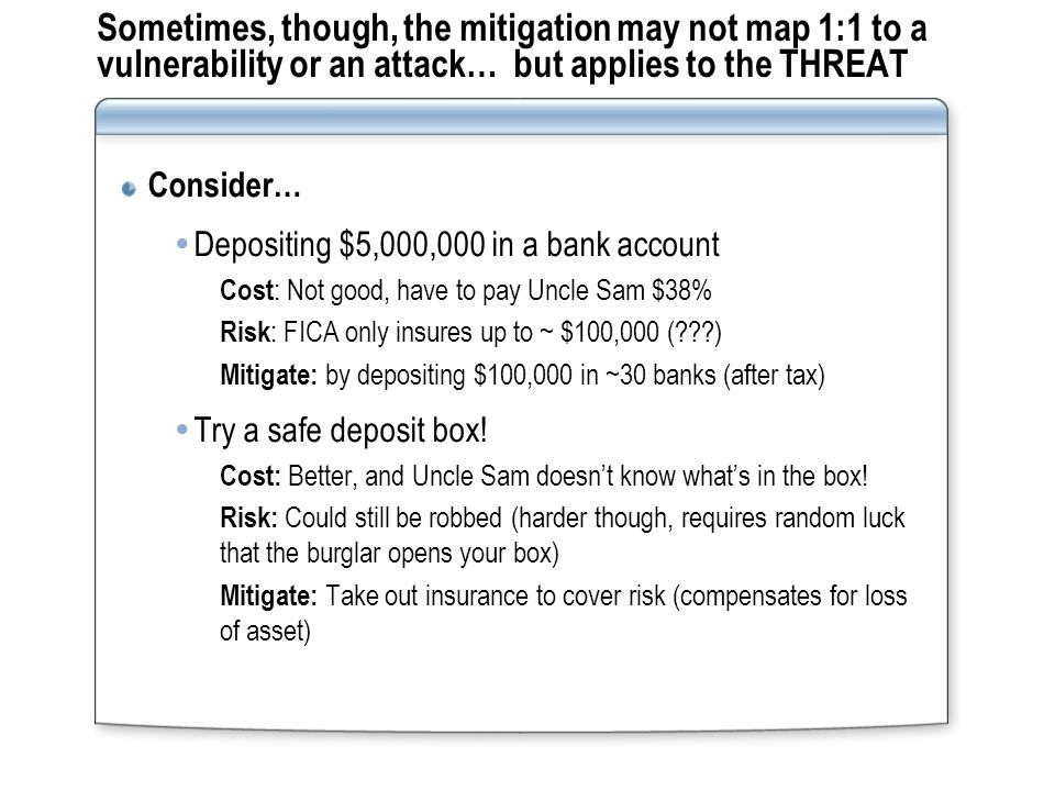 Summary Threat Modeling Tool http://msdn.microsoft.com/security/securecode/threatmo deling/default.aspx http://msdn.microsoft.com/security/securecode/threatmo deling/default.aspx A quality threat model should feed directly into your test plans  Validating the mitigation (as intended)  Testing the mitigation (in ways not intended) No matter what mitigation you choose, the threat to the asset doesn't go away!!!