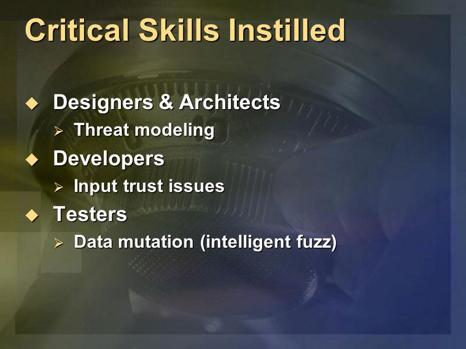 Critical Skills Instilled  Designers & Architects  Threat modeling  Developers  Input trust issues  Testers  Data mutation (intelligent fuzz)