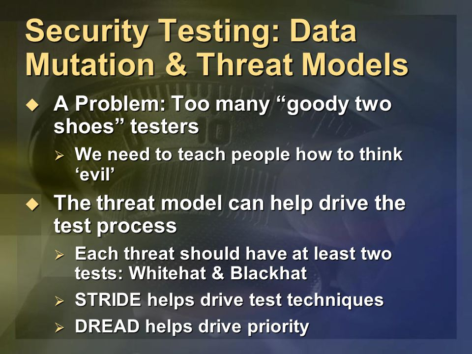 """Security Testing: Data Mutation & Threat Models  A Problem: Too many """"goody two shoes"""" testers  We need to teach people how to think 'evil'  The th"""