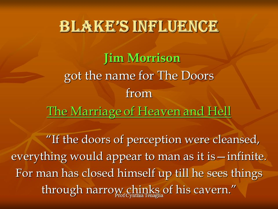 Prof Cynthia Tenaglia Blake's Influence Jim Morrison Jim Morrison got the name for The Doors from The Marriage of Heaven and Hell If the doors of perception were cleansed, everything would appear to man as it is—infinite.