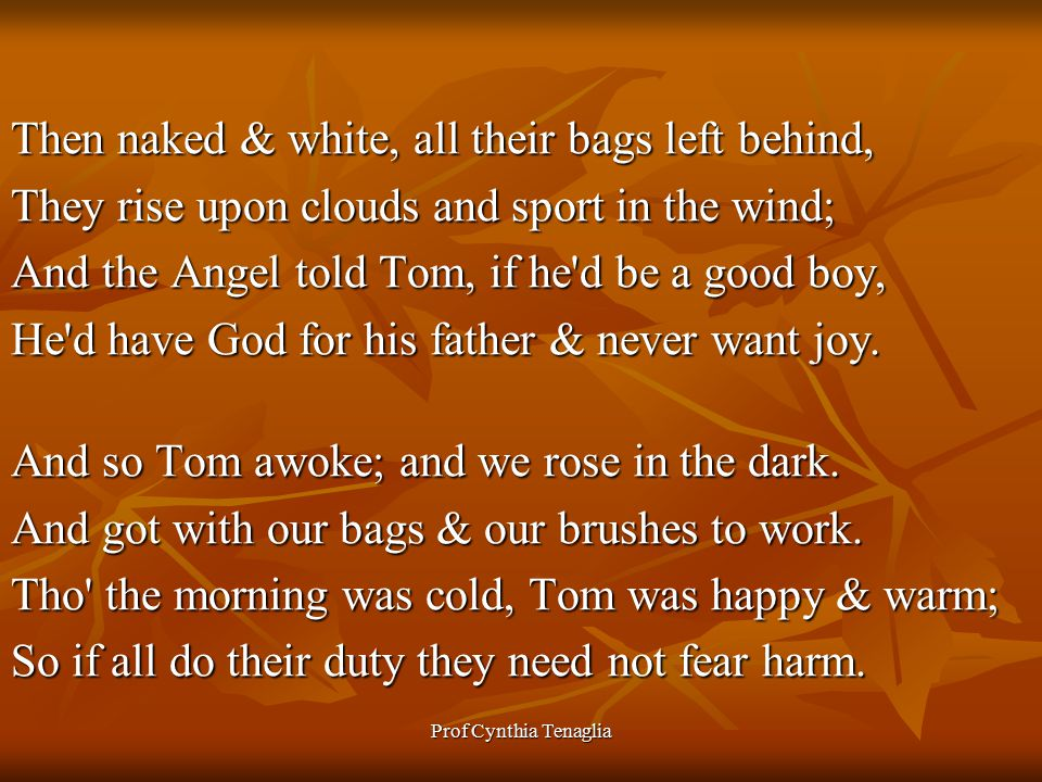 Prof Cynthia Tenaglia Then naked & white, all their bags left behind, They rise upon clouds and sport in the wind; And the Angel told Tom, if he d be a good boy, He d have God for his father & never want joy.