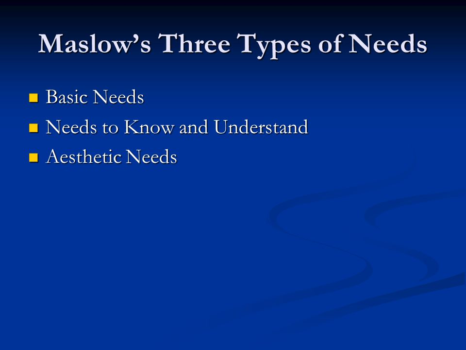 Maslow's Hierarchy of Basic Needs Self-actualization Needs Esteem Needs Love & Belonging Needs Safety Needs Biological Needs
