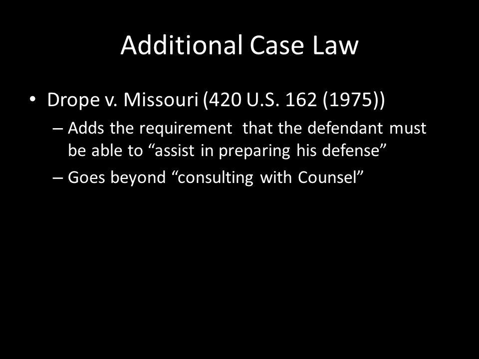 Additional Case Law Drope v. Missouri (420 U.S.