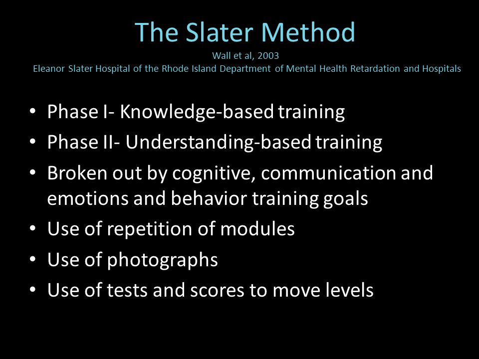 Phase I- Knowledge-based training Phase II- Understanding-based training Broken out by cognitive, communication and emotions and behavior training goals Use of repetition of modules Use of photographs Use of tests and scores to move levels The Slater Method Wall et al, 2003 Eleanor Slater Hospital of the Rhode Island Department of Mental Health Retardation and Hospitals