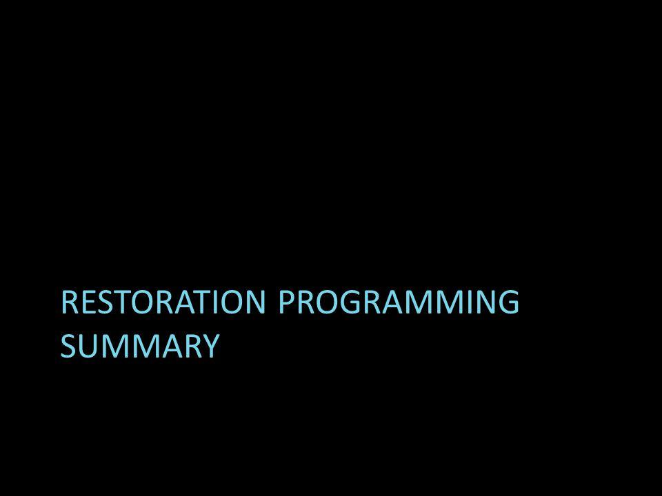 RESTORATION PROGRAMMING SUMMARY