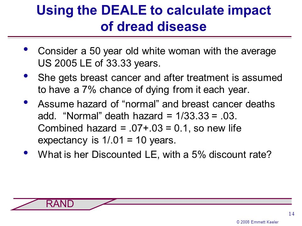14 © 2008 Emmett Keeler RAND Using the DEALE to calculate impact of dread disease Consider a 50 year old white woman with the average US 2005 LE of 33