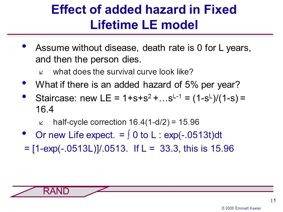 15 © 2008 Emmett Keeler RAND Effect of added hazard in Fixed Lifetime LE model Assume without disease, death rate is 0 for L years, and then the perso