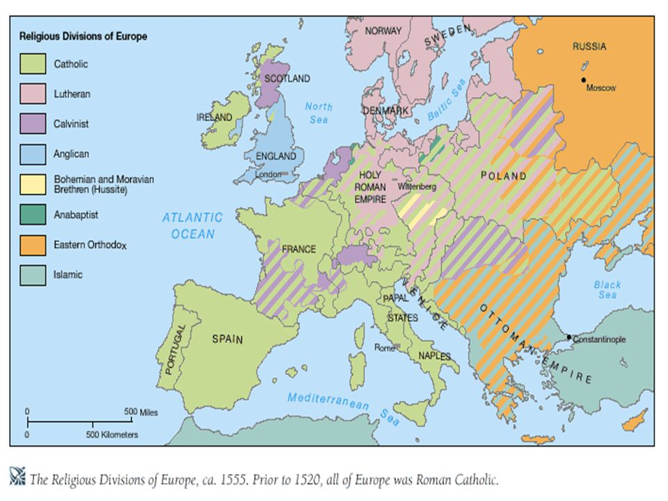 Protestant Reformation In 1517 Martin Luther denounces indulgences and initiates Protestant Reformation, 95 Theses John Calvin and his followers emphasize doctrine of predestination European countries divide into rival Protestant and Catholic camps