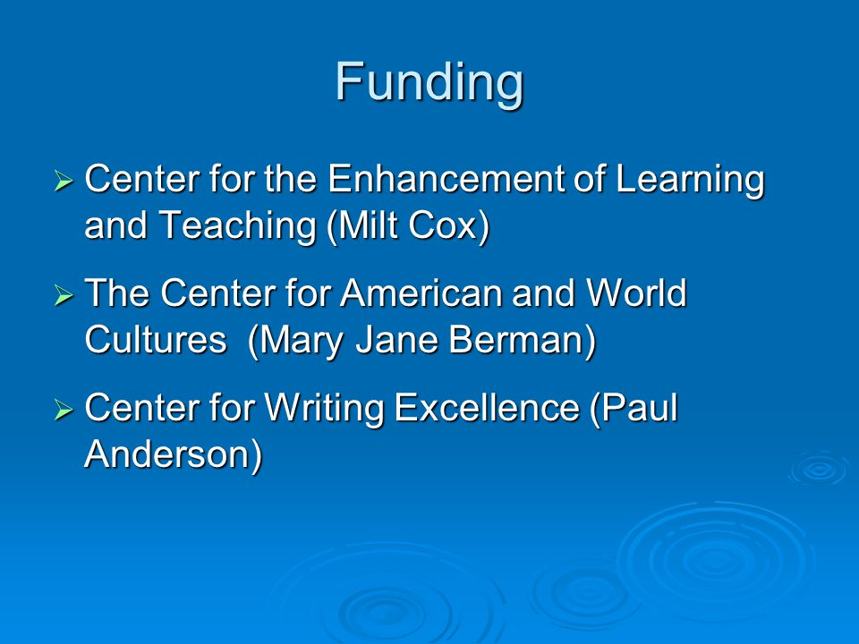 Funding  Center for the Enhancement of Learning and Teaching (Milt Cox)  The Center for American and World Cultures (Mary Jane Berman)  Center for Writing Excellence (Paul Anderson)