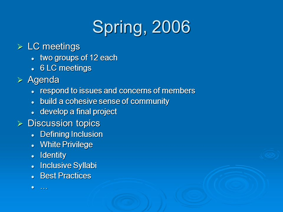 Spring, 2006  LC meetings two groups of 12 each two groups of 12 each 6 LC meetings 6 LC meetings  Agenda respond to issues and concerns of members respond to issues and concerns of members build a cohesive sense of community build a cohesive sense of community develop a final project develop a final project  Discussion topics Defining Inclusion Defining Inclusion White Privilege White Privilege Identity Identity Inclusive Syllabi Inclusive Syllabi Best Practices Best Practices …