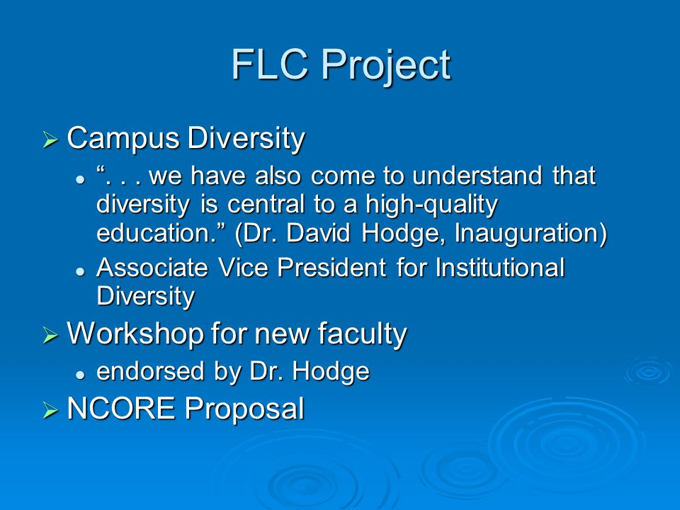 FLC Project  Campus Diversity ...
