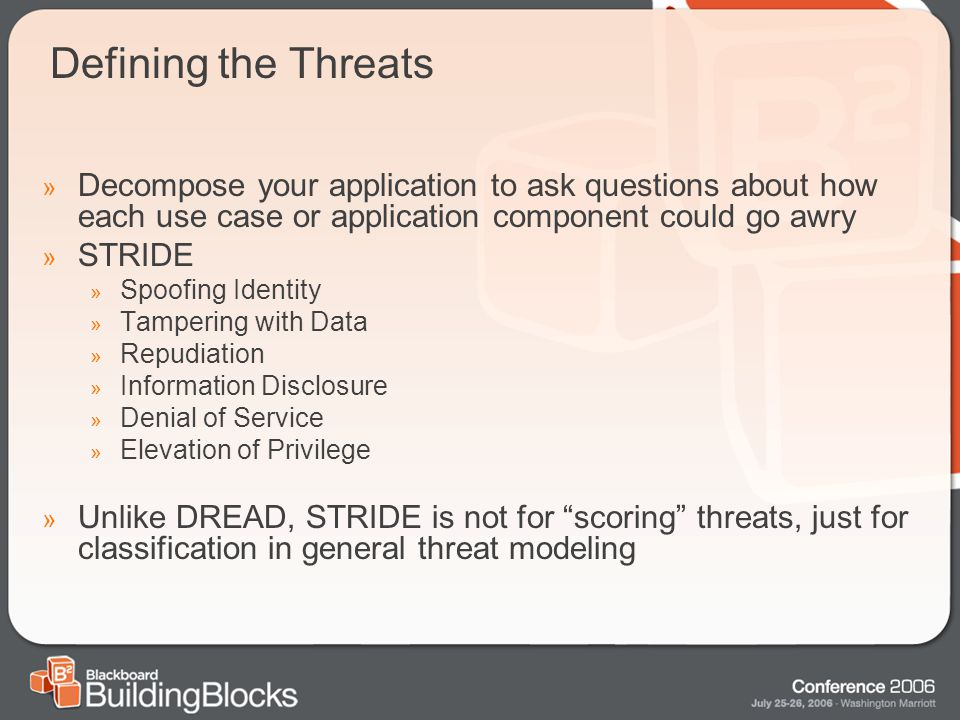 Defining the Threats » Decompose your application to ask questions about how each use case or application component could go awry » STRIDE » Spoofing Identity » Tampering with Data » Repudiation » Information Disclosure » Denial of Service » Elevation of Privilege » Unlike DREAD, STRIDE is not for scoring threats, just for classification in general threat modeling