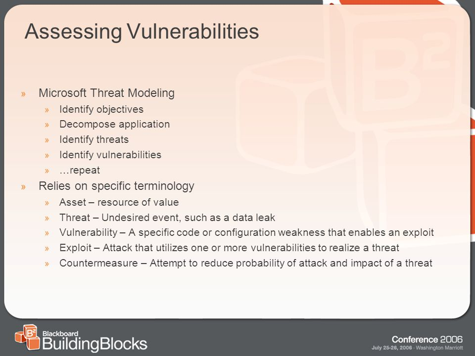 Assessing Vulnerabilities » Microsoft Threat Modeling » Identify objectives » Decompose application » Identify threats » Identify vulnerabilities » …repeat » Relies on specific terminology » Asset – resource of value » Threat – Undesired event, such as a data leak » Vulnerability – A specific code or configuration weakness that enables an exploit » Exploit – Attack that utilizes one or more vulnerabilities to realize a threat » Countermeasure – Attempt to reduce probability of attack and impact of a threat