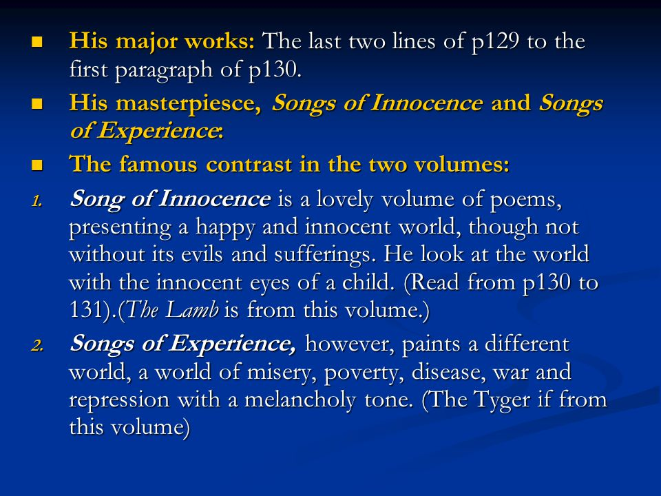 His major works: The last two lines of p129 to the first paragraph of p130. His major works: The last two lines of p129 to the first paragraph of p130