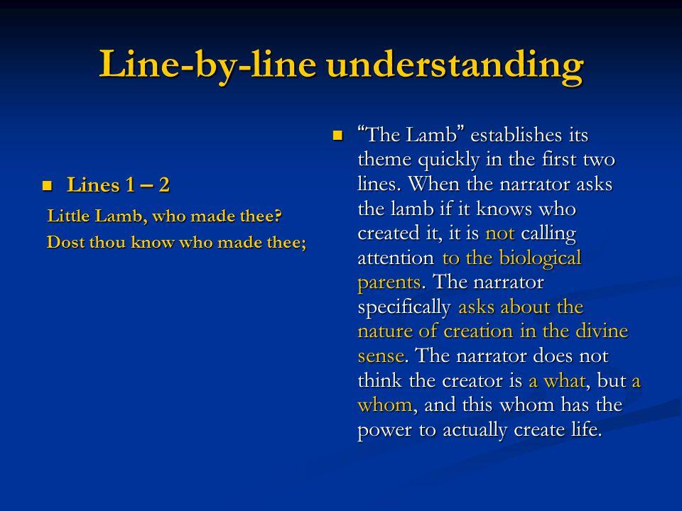 Line-by-line understanding Lines 1 – 2 Lines 1 – 2 Little Lamb, who made thee? Little Lamb, who made thee? Dost thou know who made thee; Dost thou kno