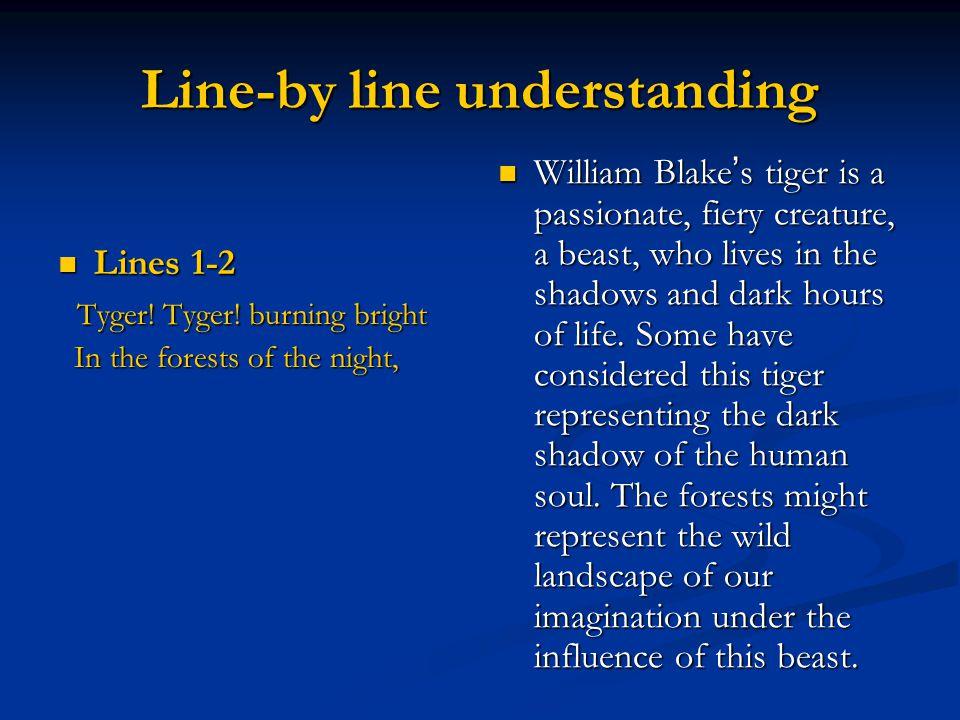 Line-by line understanding Lines 1-2 Lines 1-2 Tyger! Tyger! burning bright Tyger! Tyger! burning bright In the forests of the night, In the forests o