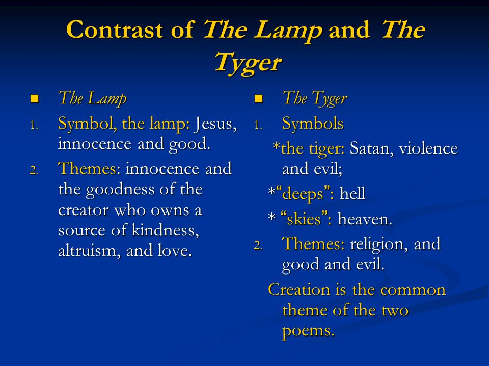 Contrast of The Lamp and The Tyger The Lamp The Lamp 1. Symbol, the lamp: Jesus, innocence and good. 2. Themes: innocence and the goodness of the crea