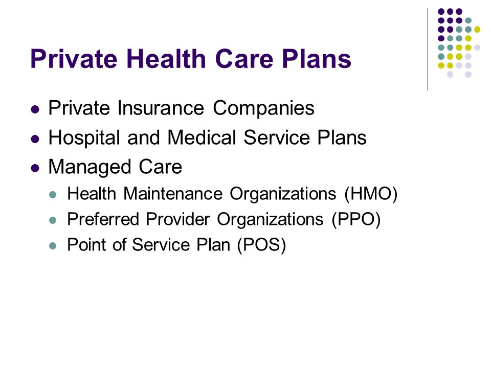 Private Health Care Plans Private Insurance Companies Hospital and Medical Service Plans Managed Care Health Maintenance Organizations (HMO) Preferred