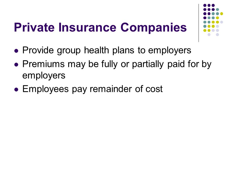 Private Insurance Companies Provide group health plans to employers Premiums may be fully or partially paid for by employers Employees pay remainder o