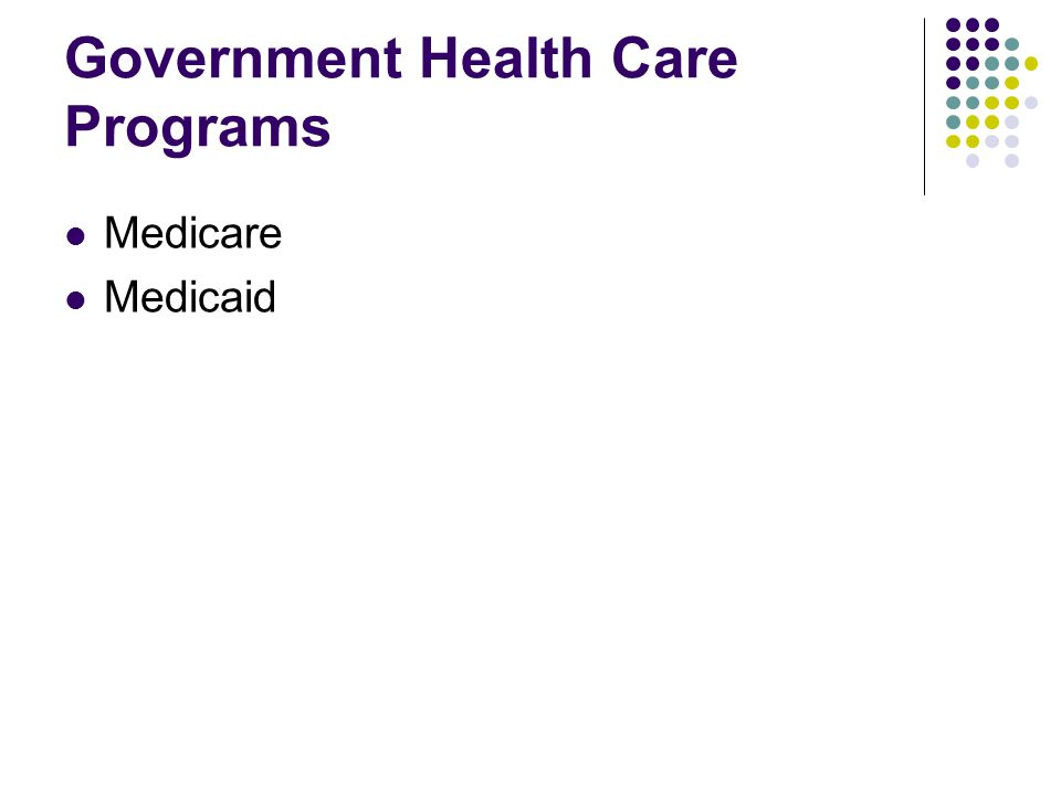 Government Health Care Programs Medicare Medicaid
