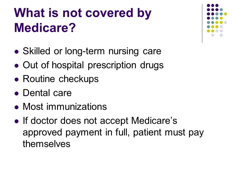 What is not covered by Medicare.
