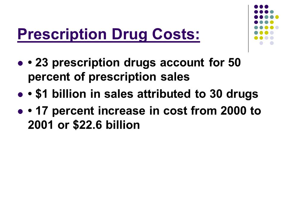 Prescription Drug Costs: 23 prescription drugs account for 50 percent of prescription sales $1 billion in sales attributed to 30 drugs 17 percent increase in cost from 2000 to 2001 or $22.6 billion