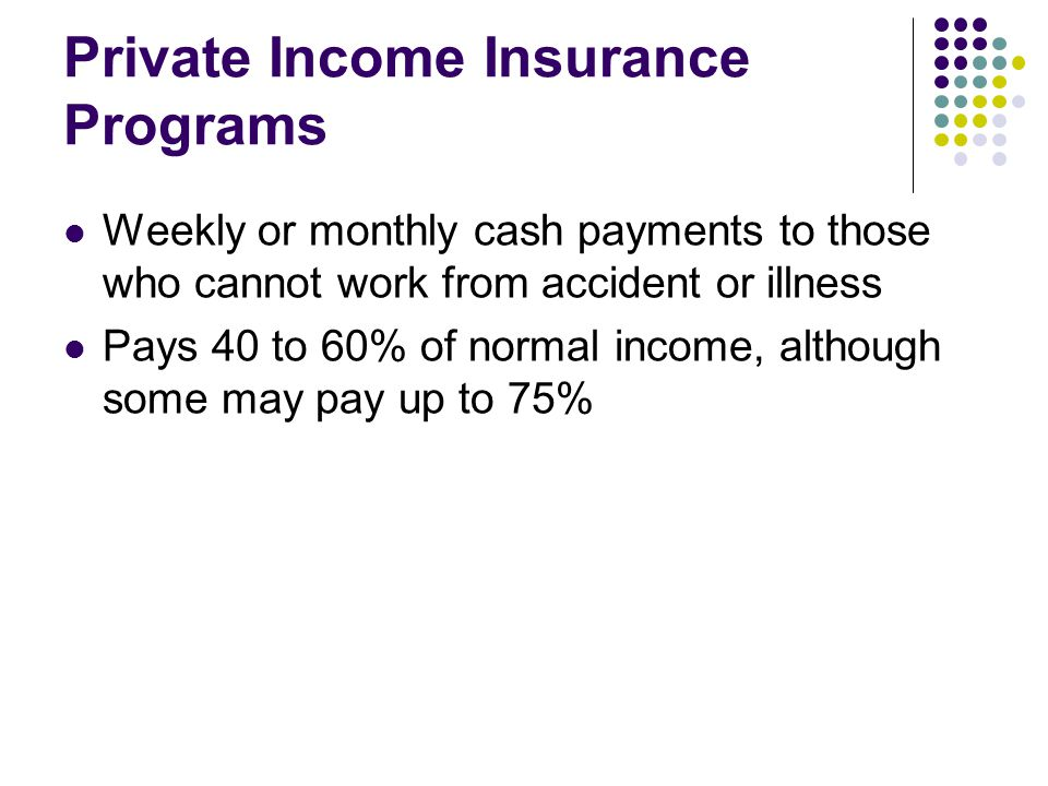 Private Income Insurance Programs Weekly or monthly cash payments to those who cannot work from accident or illness Pays 40 to 60% of normal income, although some may pay up to 75%