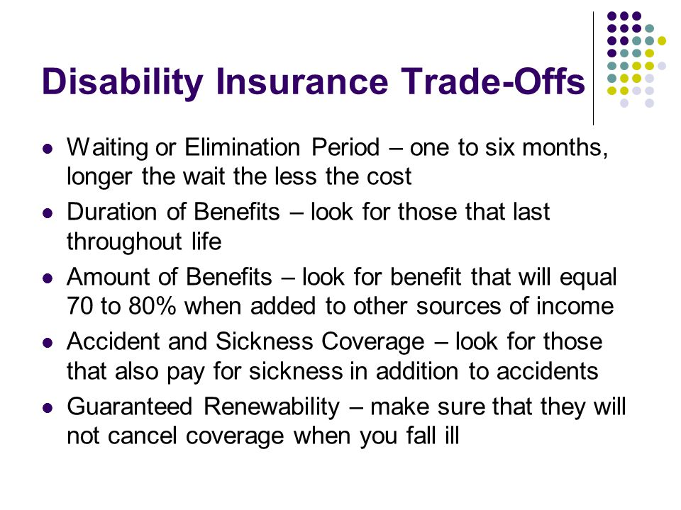 Disability Insurance Trade-Offs Waiting or Elimination Period – one to six months, longer the wait the less the cost Duration of Benefits – look for t