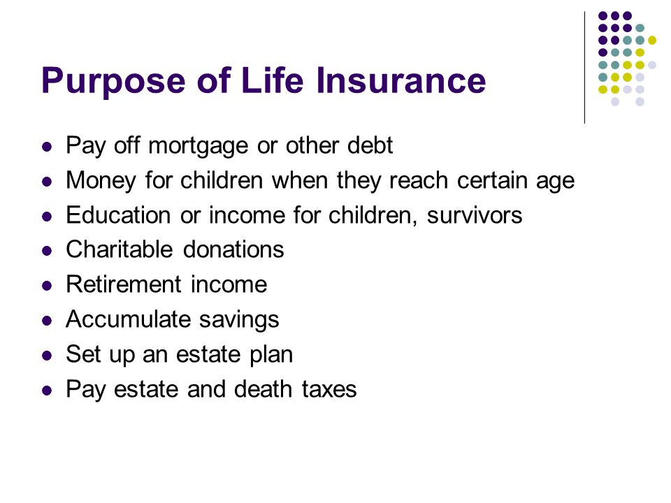Purpose of Life Insurance Pay off mortgage or other debt Money for children when they reach certain age Education or income for children, survivors Charitable donations Retirement income Accumulate savings Set up an estate plan Pay estate and death taxes