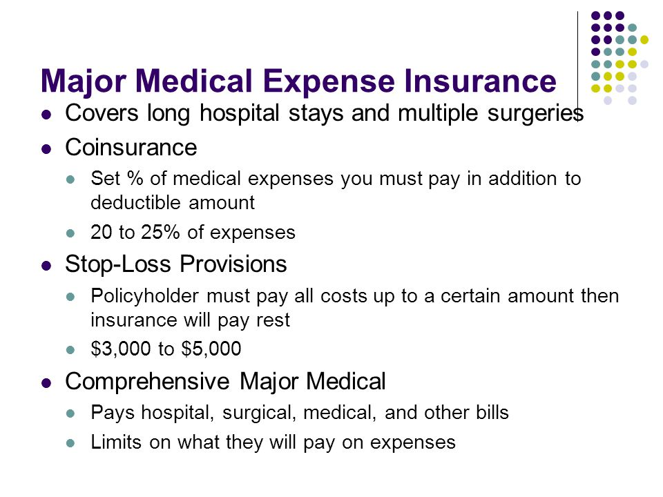 Major Medical Expense Insurance Covers long hospital stays and multiple surgeries Coinsurance Set % of medical expenses you must pay in addition to deductible amount 20 to 25% of expenses Stop-Loss Provisions Policyholder must pay all costs up to a certain amount then insurance will pay rest $3,000 to $5,000 Comprehensive Major Medical Pays hospital, surgical, medical, and other bills Limits on what they will pay on expenses