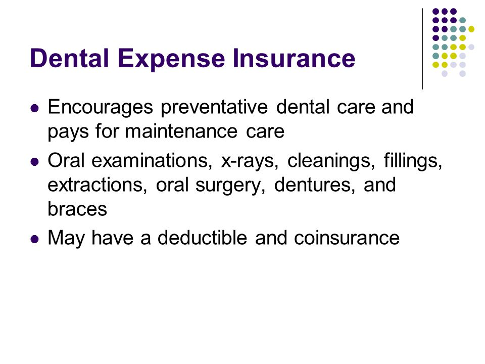 Dental Expense Insurance Encourages preventative dental care and pays for maintenance care Oral examinations, x-rays, cleanings, fillings, extractions