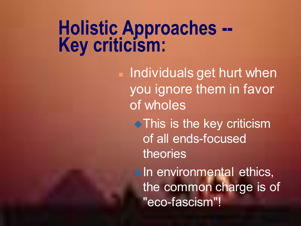 Holistic Approaches -- Key criticism: n Individuals get hurt when you ignore them in favor of wholes u This is the key criticism of all ends-focused t