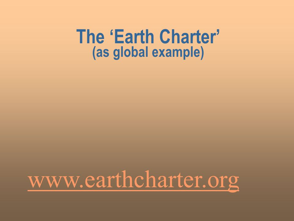 The 'Earth Charter' (as global example) www.earthcharter.org
